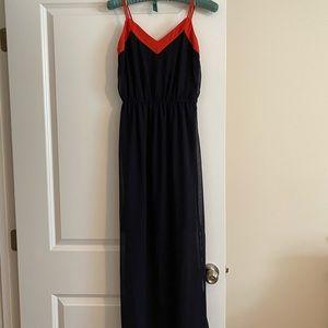 Navy maxi dress with orange trim
